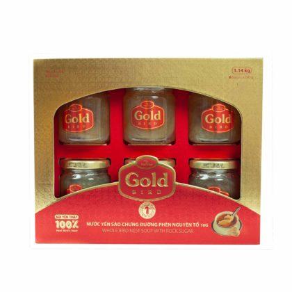 Gold Bird – Hộp Quà Yến Sào Nguyên Tổ Chưng Đường Phèn –  6 Hũ * 190 Gram – Nutrinest